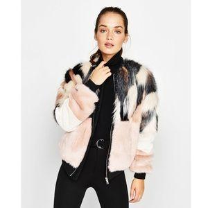 Bershka Faux Fur Multicolor Bomber Zip Up Jacket L